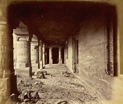 View from the right looking along interior of verandah of Buddhist Vihara, Cave XXIII, Ajanta